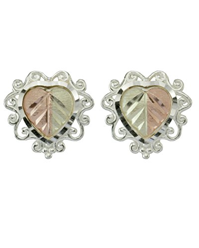 Filigree Heart Earrings, Sterling Silver, 12k Rose and Green Gold Black Hills Gold Motif by The Men's Jewelry Store (for HER)