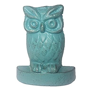 Owl Decor Heavy Cast Iron Decorative Door Stop with Vintage Distressed Look (Antique Blue)