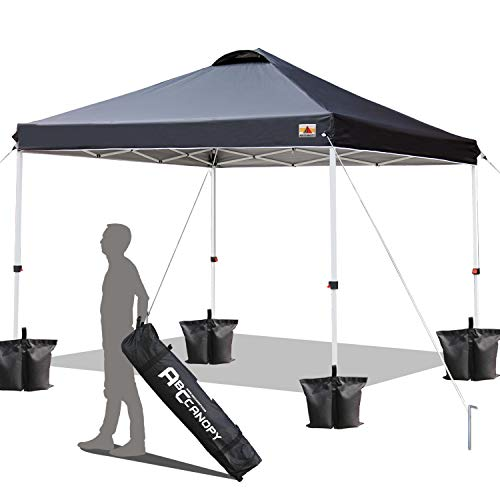 ABCCANOPY 10X10 Canopy Tent Compact Pop up Canopy Commercial Tents Instant Shelter with Wheeled Carry Bag,Black