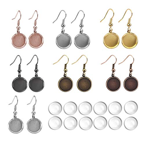 LANBEIDE 12mm Earring Wire Hooks with Glass Cover Cabochon Setting, 84 PCS 7 Colors Alloy Earring Bezel Trays for Jewelry Making