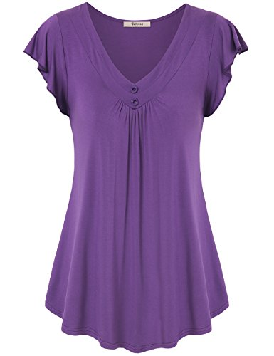 Bebonnie V Neck Tunic Tops for Women, Plus Size Flutter Sleeve Flowy Swing Ruched Tops for Women Short Sleeve Violet L (Sleeve Flutter Tops Plus)