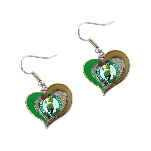 Boston Celtics NBA Sports Team Logo Swirl Heart Shape French Hook Women Style Charm Dangle Earring Set by aminco