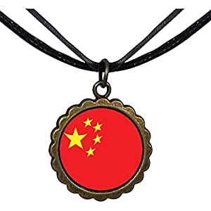 Chicforest Bronze Retro Style China Flag Round Flower Pendant