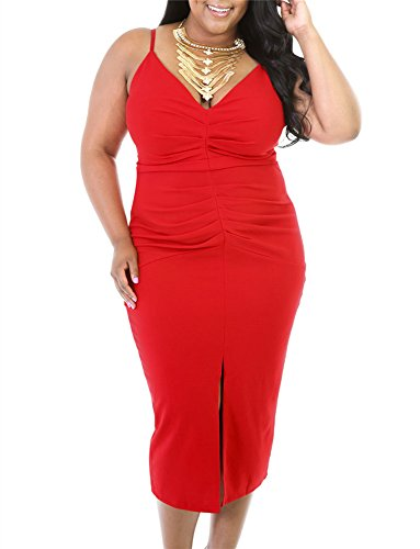 Gloria&Sarah Women's Front Slit Strap Plus Size Ruched Dress,Red,XXL (Plus Size Red Dresses)