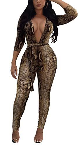 Lunaya Women Snakeskin Print Long Bodycon Club Jumpsuits Rompers Belt Party Outfits Snakeskin XXL