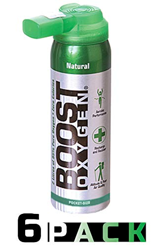 95% Pure Pocket Sized Oxygen Supplement, Portable Canister of Clean Oxygen, Increases Endurance, Recovery, Mental Acuity and Performance (2 Liter Canisters, 6 Pack, Natural)