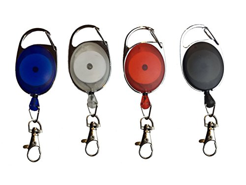 Carabiner Retractable Badge Reel Holder ID Card Holders With Metal Cord And Lobster Clip Multicolored 4 Pack By ToNic (Steel Badge)
