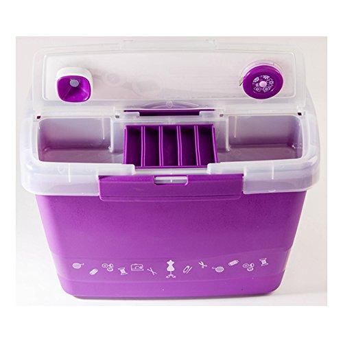 Hemline Premium Plastic Caddy Sewing Box Purple MR4609-PURPLE Groves Asia