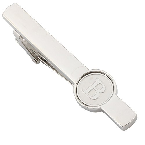 Dannyshi Men Tie Clip 2.1 Inch Silver Plated Stainless 26 Letters A-Z + Gift Box (Silver-B)
