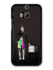 AMAF ? Accessories Charlie Chaplin with Tv Bars Shorts Black and White Illustration case for HTC One M8 by mcsharks