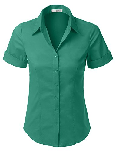LE3NO Womens Tailored Short Sleeve Button Down Shirt With Stretch,L3nwt575a_emeraldgreen,X-Large