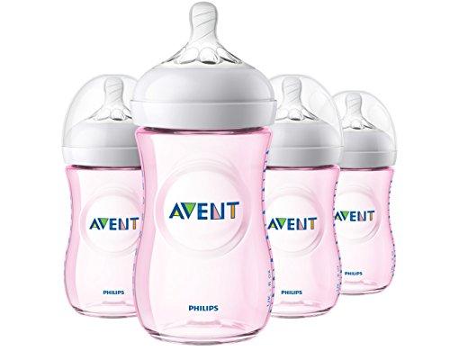 Philips Avent Natural Baby Bottle, Pink, 9oz, 4pk, SCF013/48