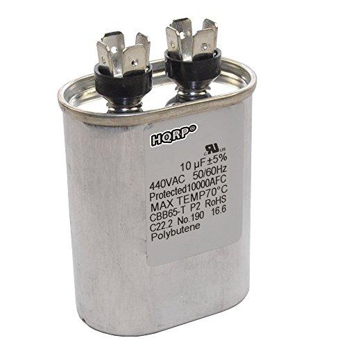 hqrp 10uf 370-440v capacitor works with ac electric motor run start hvac  blower compressor trane furnace 10mfd 27l669 97f9002 jandy carrier payne  plus hqrp