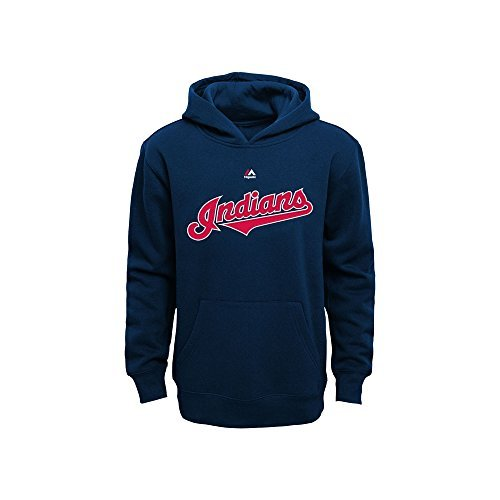 Cleveland Indians Kids Navy Blue Wordmark Pullover Fleece Hoodie (Large 7)