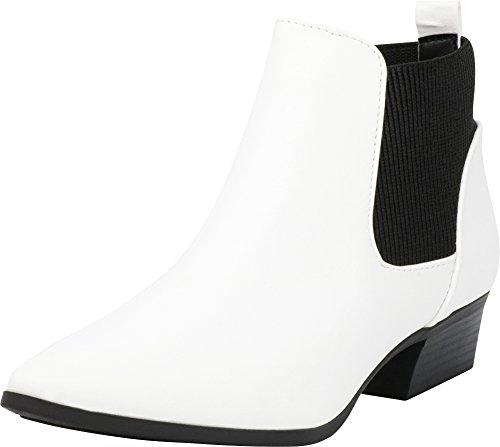 Cambridge Select Women's Closed Pointed Toe Western Chunky Low Heel Ankle Bootie,10 B(M) US,White PU