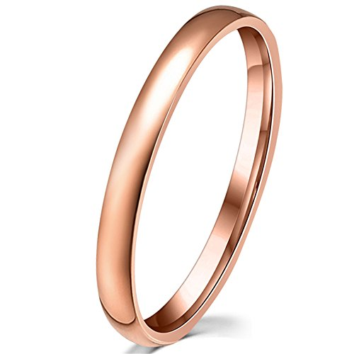Womens 2mm Stainless Steel Simple Style Rose Gold Plated Wedding Band Engagement Thin Ring Comfort Fit Size 6