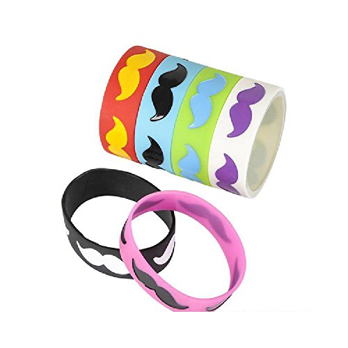 8'' Mustache Silicone Bracelet by Bargain World