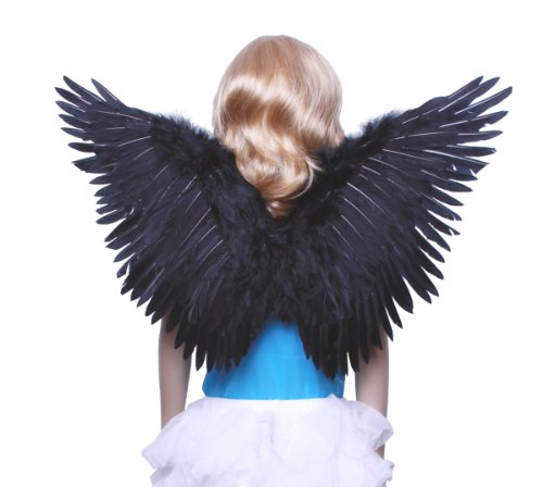 Blue Angel Wings Costume (FashionWings (TM) Children's Black Butterfly Style Costume Feather Angel Wings)