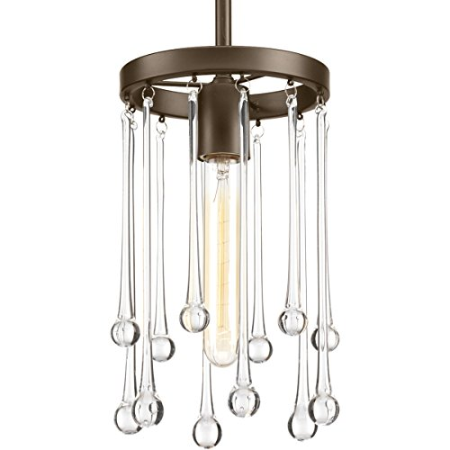 Progress Lighting P500005-020 Transitional One Light Mini Pendant from Sway Collection Dark Finish, Antique Bronze