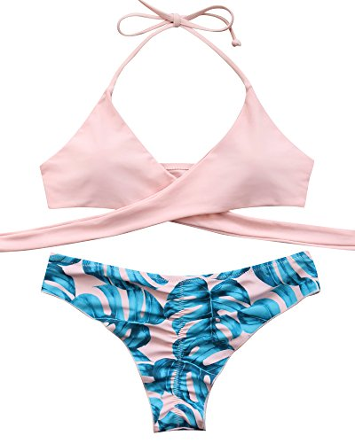 MOOSKINI Womens Padded Push-up Bikini Set Bathing Suits Two Pieces Swimsuit Light Pink