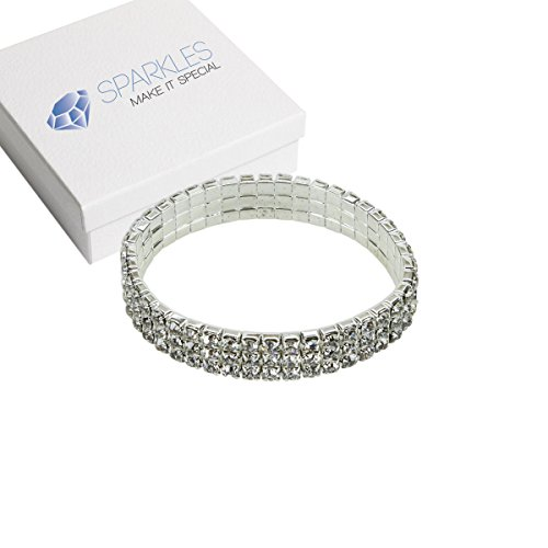 Sparkles Make It Special 3 Row Fashion Crystal Rhinestone Stretch Bracelet Bangle Wedding Bridal Wristband ()