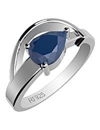 0.90ctw,Genuine Sapphire 5x7mm Pear & Solid .925 Sterling Silver Rings