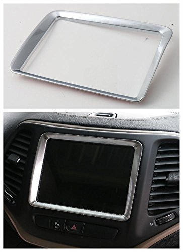 Pulidi Car Interior Navigation Cover Decorative GPS Frame Trim For Jeep Cherokee 2014 2015 2016 ABS Matte Silver 1pc ()