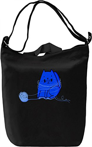Cute Blue Cat Borsa Giornaliera Canvas Canvas Day Bag| 100% Premium Cotton Canvas| DTG Printing|