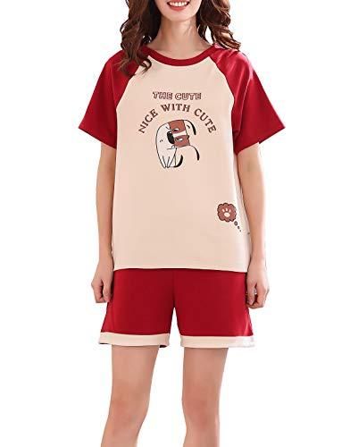 Vopmocld Big Girls' Lovely Dog Letters Sleepwears Cute Cartoon 2PCS Pajama Sets