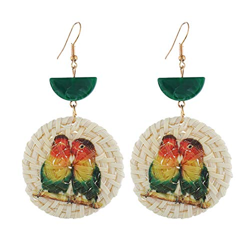 Togethluer Women Fashion Earrings, Dolphin Seahorse Parrot Pattern Round Rattan Charm Lady Statement Hook Earrings 3# ()