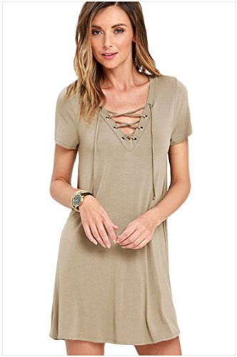 E-Love Womens Hot Sale Gray Casual Lace-up Swing Dress(L)