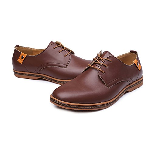 Ruanyi Cuir Oxford Chaussures Hommes, Chaussures À Cheville Lisse PU Cuir Haut Respirant Formel Business Oxfords pour Hommes Marron