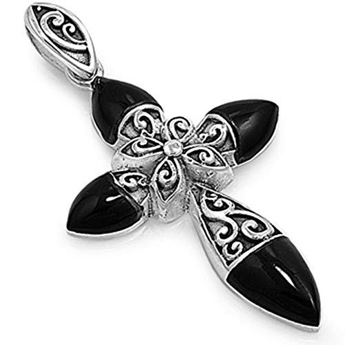 Cross Pendant Black Simulated Onyx .925 Sterling Silver Charm Vintage Crafting Pendant Jewelry Making Supplies - DIY for Necklace Bracelet Accessories by CharmingSS