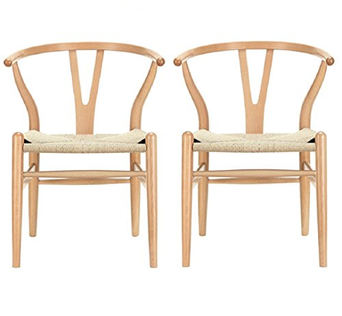 MLF Set of 2 Natural Wishbone Dining Chairs with Arms Open Y Back, Made of Solid Natural Beech, Mid Century Modern Woven Seat Wood Armchair for Office, Home, Living Room, Balcony etc.