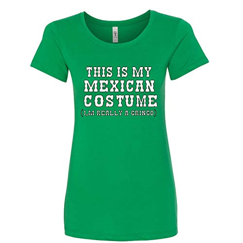 (This is My Mexican Costume Cinco De Mayo Womens Junior Fit Graphic T-Shirt, Kelly, XX-Large )