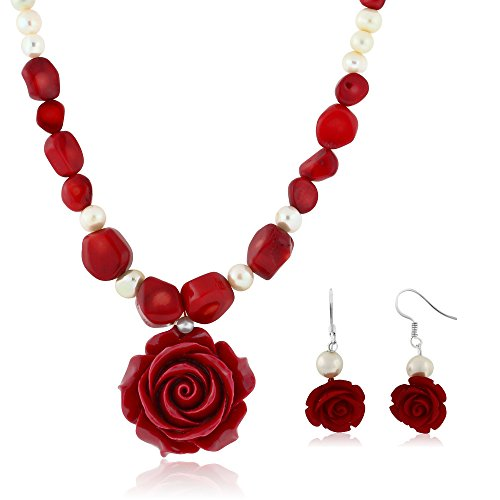 (Gem Stone King 18inches Simulated Red Coral Cultured Freshwater Pearl Carved Rose Necklace + Earring)