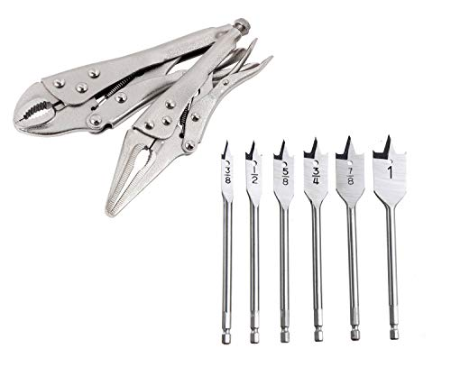 Hyper Tough 6-Piece Spade Drill Bit Set bundle with Hyper Tough 2-Piece Locking Plier Set