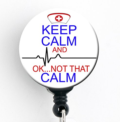 Keep Calm and... OK Not That Calm - Retractable Badge Reel With Swivel Clip and Extra-Long 34 inch cord - Badge Holder