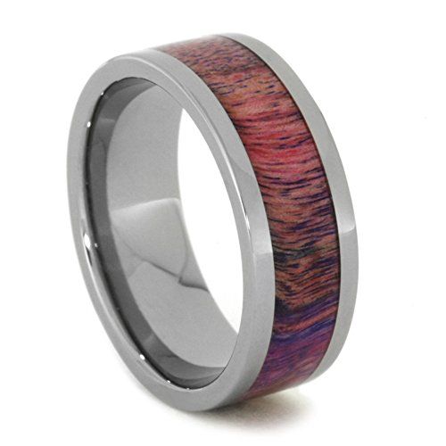 Pink and Purple Poplar Wood 8mm Comfort-Fit Titanium Wedding Band, Size 10.5 by The Men's Jewelry Store (Unisex Jewelry)