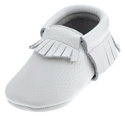 Sayoyo Baby White Tassels Soft Sole Leather Infant Toddler Prewalker Shoes (24-36 months, White)
