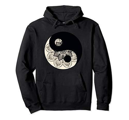 Beautiful Ying Yang Balance Mandala Flower Silhouette Pullover Hoodie