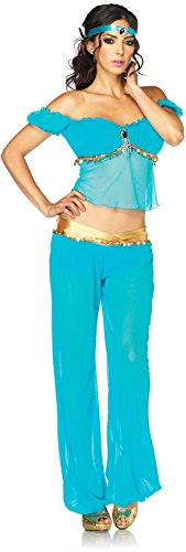 Leg Avenue Women's 3 Piece Arabian Princess Costume, Turquoise, Medium