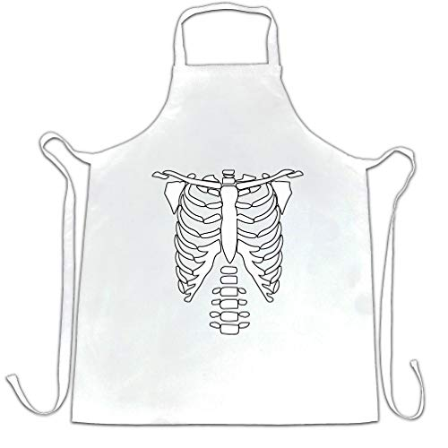 Halloween Skeleton Ribs Food (Halloween Chef's Apron Skeleton Ribcage Chest White One)
