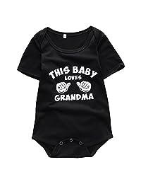 Baby Boys Girls THIS BABY LOVES GRANDMA Short Sleeve Romper Bodysuit