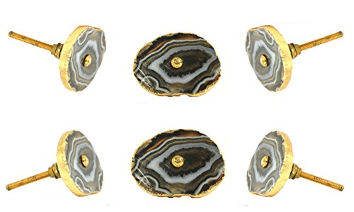 Set of 6 Barbarella Agate with Brass Hardware Brown Drawer Knob Cabinet Cupboard Pull by Trinca-Ferro