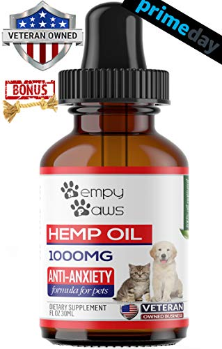 HempyPaws Hemp Oil for Dogs & Cats - 1000mg - Anxiety & Pain Relief Pet Hemp Oil Made in USA - All Natural Hemp Extract Oil for Pets - Non-GMO, Organic,  Supports Joint Health - Chew Toy