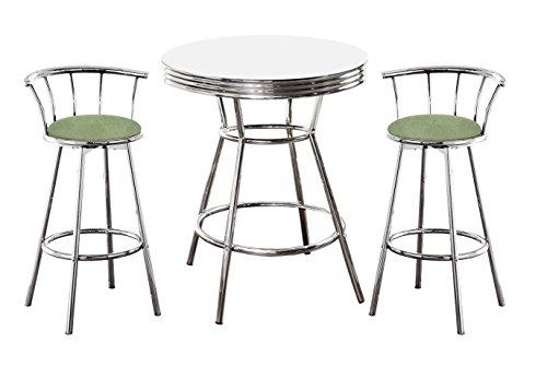 The Furniture Cove Chrome Bar Table & 2 Chrome 29