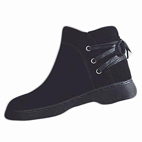 HSXZ Zapatos de Mujer de cuero de nubuck moda otoño invierno PU Confort Botas Botas Cuadra talón Round Toe para negro casual Black
