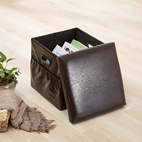 Yongchuang Folding Storage Ottoman Faux Leather/Footrest Stool/Padded Seat (Coffee 2)