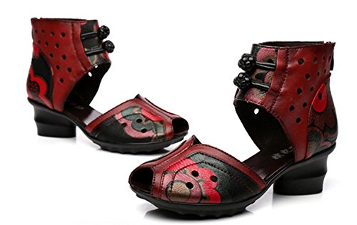 Women Peep Flower Red Gift Red Strappy Black Closet Girl's Ladies Toes Sandals Flowers HETAO Cortex Personality CqPI8w85